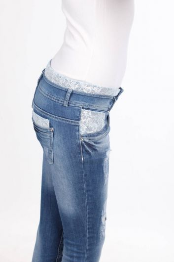 Women's Lace Detailed Skinny Jean Trousers - Thumbnail