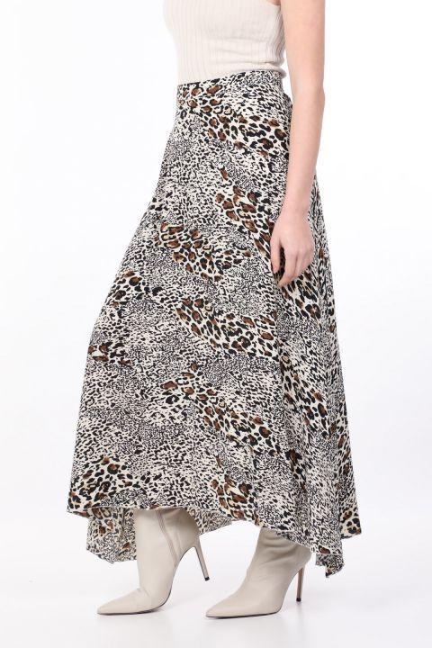 تنورة غير متماثلة بنقشة الفهد للسيدات