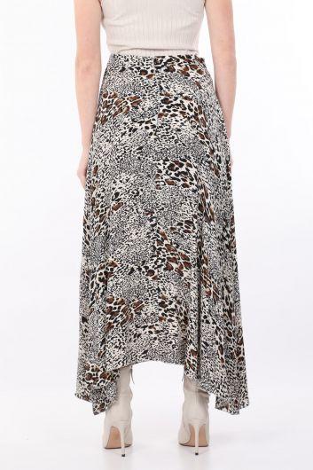 تنورة غير متماثلة بنقشة الفهد للسيدات - Thumbnail