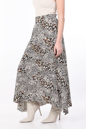 MARKAPIA WOMAN - Women's Leopard Patterned Asymmetric Skirt (1)