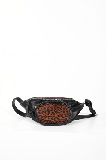 Women's Leopard Pattern Black Leather Belt Bag - Thumbnail