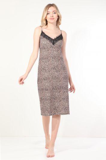 فستان نوم نسائي بشريط دانتيل بنمط ليوبارد - Thumbnail