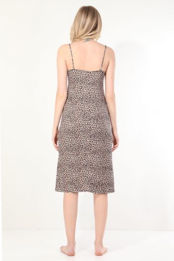 Women's Leopard Pattern Lace Strap Nightdress - Thumbnail