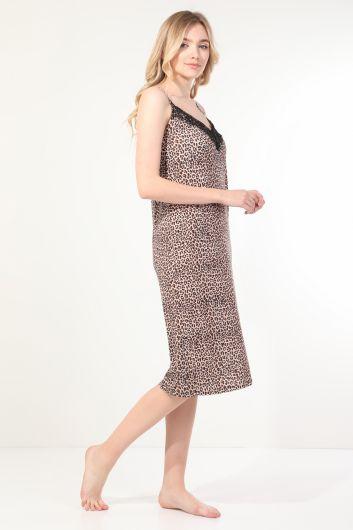 MARKAPIA WOMAN - Женская ночная рубашка с леопардовым узором и кружевным ремешком (1)