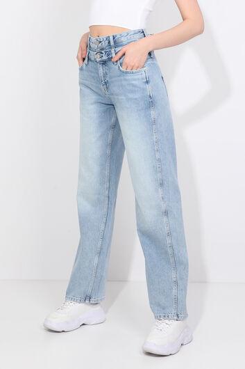 BLUE WHITE - Женские голубые джинсы-палаццо с двойным поясом (1)