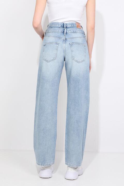 Женские голубые джинсы-палаццо с двойным поясом