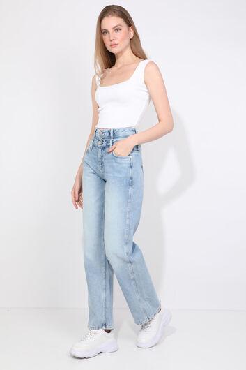 Женские голубые джинсы-палаццо с двойным поясом - Thumbnail