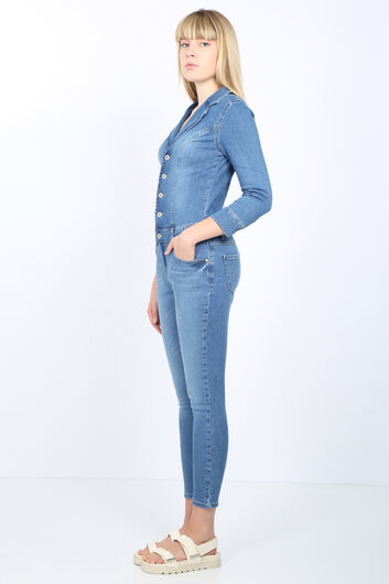 Banny Jeans - Women Light Blue Jacket Collar Jean Jumpsuit Trousers (1)