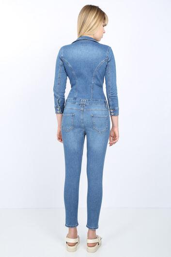 Женщины Голубой пиджак воротник джинсовые комбинезоны брюки - Thumbnail