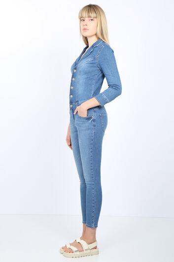 Banny Jeans - Женщины Голубой пиджак воротник джинсовые комбинезоны брюки (1)