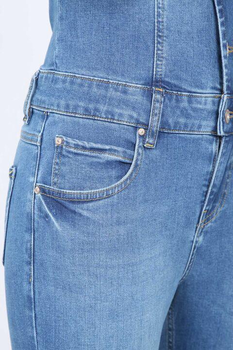 Женщины Голубой пиджак воротник джинсовые комбинезоны брюки