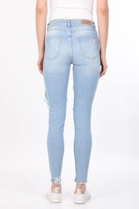 Women's Light Blue Fishnet Detailed Jean Trousers