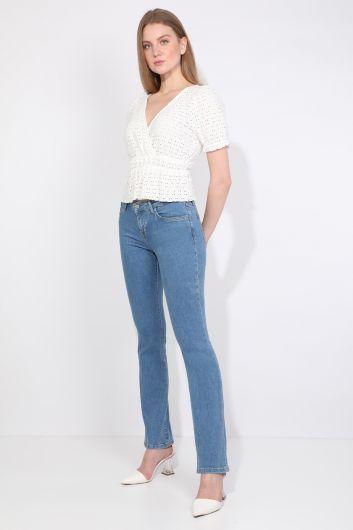 Banny Jeans - Женские голубые прямые джинсовые брюки (1)