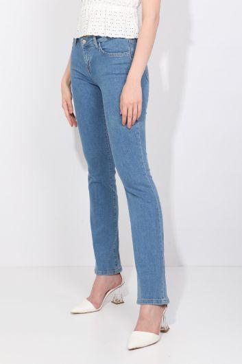 Женские голубые прямые джинсовые брюки - Thumbnail