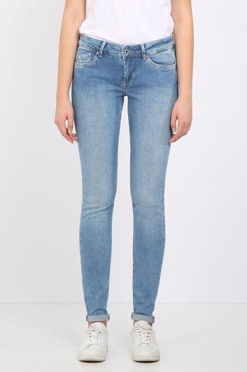 بنطلون جينز ضيق أزرق فاتح نسائي - Thumbnail