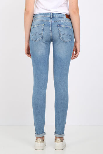 BLUE WHITE - Women's Light Blue Skinny Leg Jeans (1)