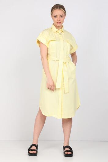 فستان بوبلين أصفر فاتح نسائي - Thumbnail