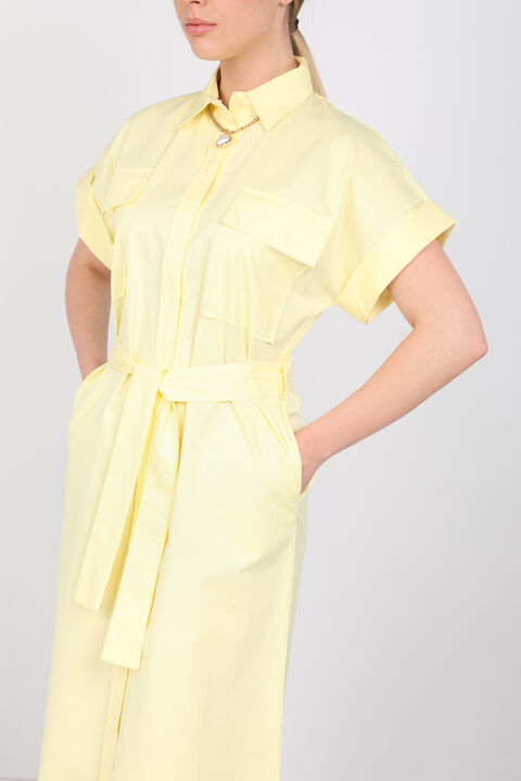 فستان بوبلين أصفر فاتح نسائي