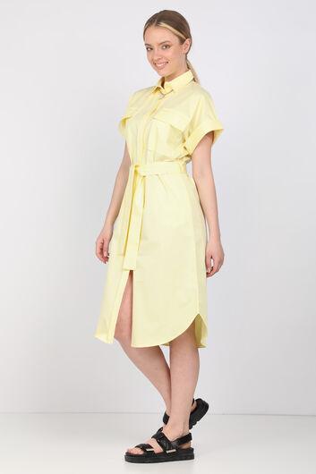 Женское светло-желтое платье из поплина - Thumbnail