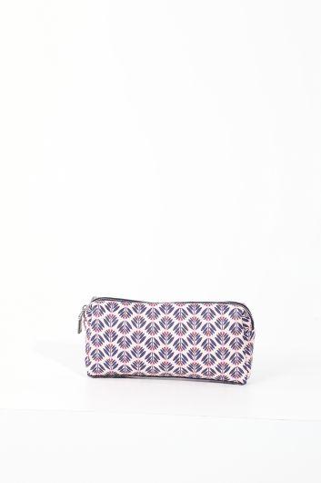 حقيبة مكياج نسائية منقوشة ليلك - Thumbnail