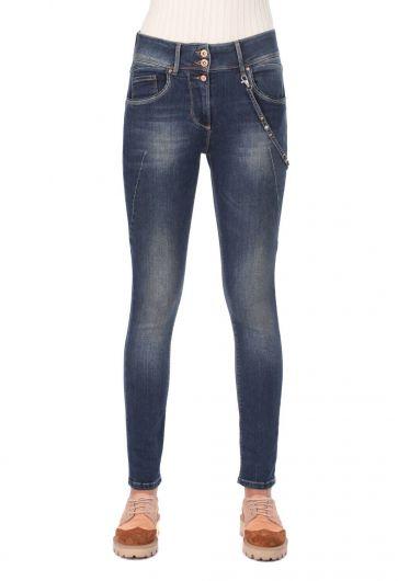Women's Low Waist Chain Jeans - Thumbnail