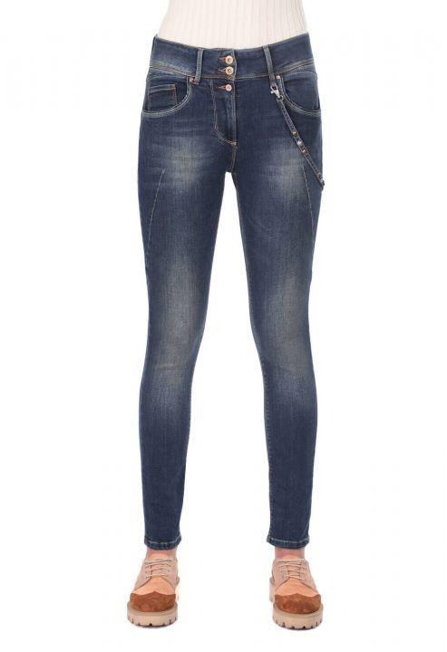 Women's Low Waist Chain Jeans