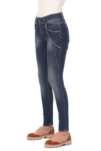 BLUE WHITE - Women's Low Waist Chain Jeans (1)