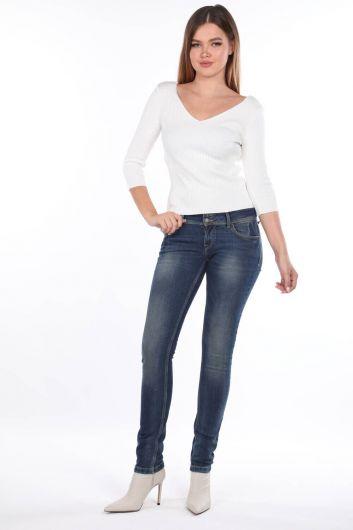 Women's Low Waist Double Buttoned Jean Trousers - Thumbnail
