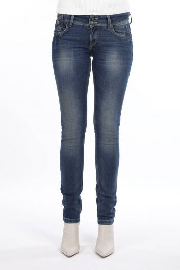 Женские джинсовые брюки с заниженной талией и двойной пуговицей - Thumbnail