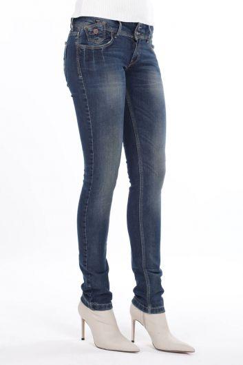 BLUE WHITE - Женские джинсовые брюки с заниженной талией и двойной пуговицей (1)