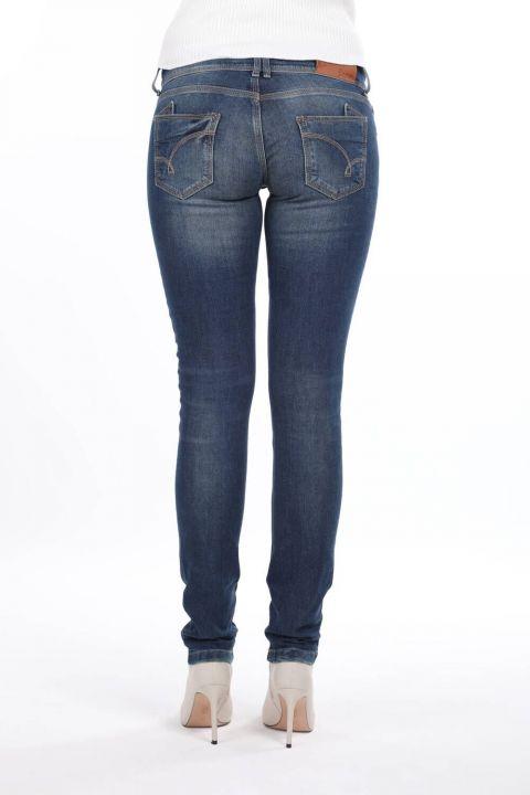 Женские джинсовые брюки с заниженной талией и двойной пуговицей
