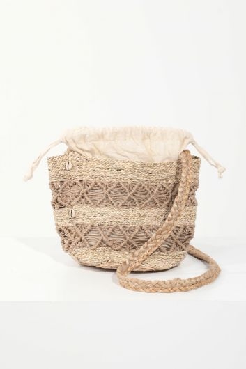 MARKAPIA WOMAN - Women's Straw Look Lined Braided Shoulder Bag (1)