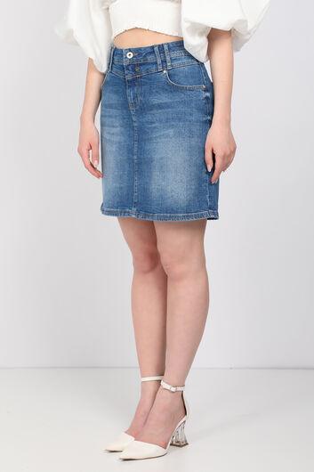BLUE WHITE - Women's Mini Jean Skirt Light Blue (1)