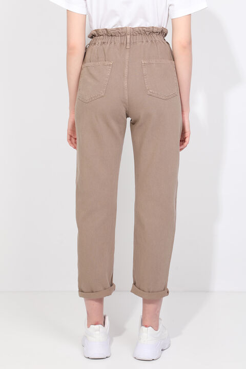 Women Mink Paperbag Jean Trousers