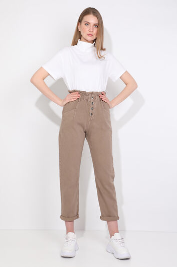 Women Mink Paperbag Jean Trousers - Thumbnail