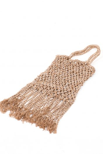 Женская плетеная сумка из норки с кисточкой - Thumbnail