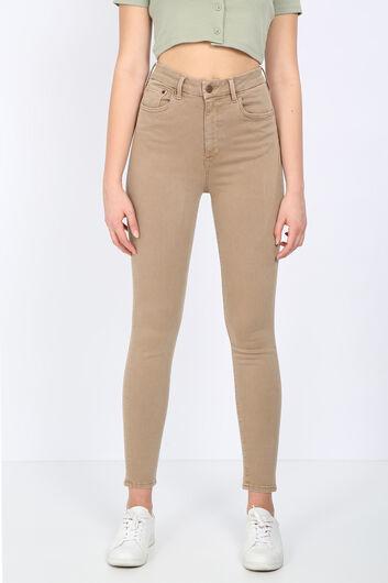 Женские прямые узкие брюки из норки - Thumbnail