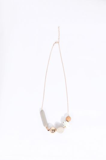Women's Mixed Stone Chain Necklace - Thumbnail