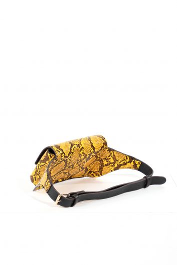 MARKAPIA WOMAN - Women's Mustard Snakeskin Patterned Belt Bag (1)