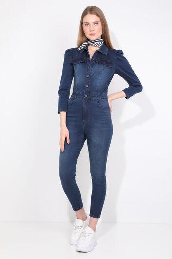 بنطلون جينز نسائي أزرق كحلي بأزرار - Thumbnail