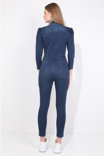 BLUE WHITE - Women Navy Blue Buttoned Jean Jumpsuit Trousers (1)