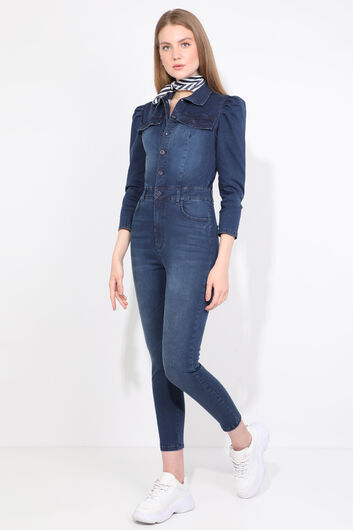 Women Navy Blue Buttoned Jean Jumpsuit Trousers - Thumbnail