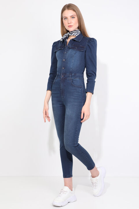 Women Navy Blue Buttoned Jean Jumpsuit Trousers