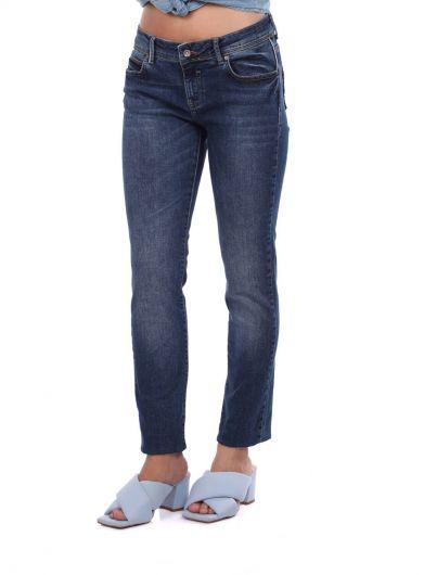 Женские джинсовые брюки темно-синего цвета с заниженной талией - Thumbnail