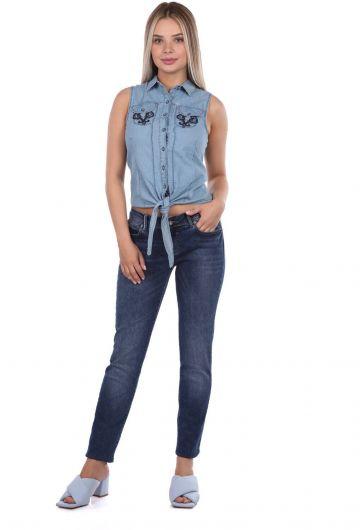 Banny Jeans - Женские джинсовые брюки темно-синего цвета с заниженной талией (1)