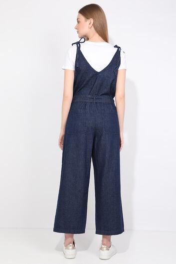 Women Navy Blue Oversize Jean Jumpsuit Trousers - Thumbnail