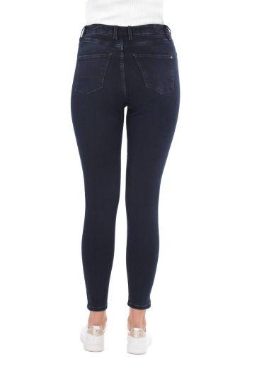بنطلون جينز أزرق كحلي نسائي - Thumbnail