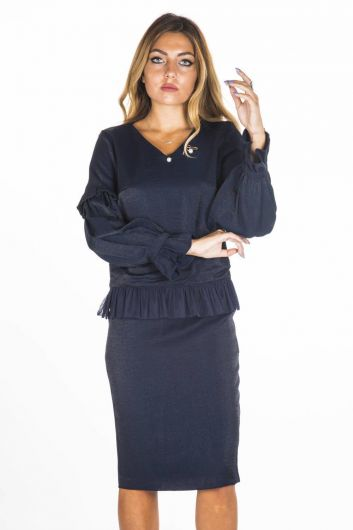BUTİK DAYI - Women's Navy Blue Skirt Blouse Suit  (1)