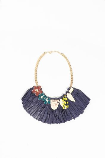Women's Navy Blue Tasseled Stone Necklace - Thumbnail