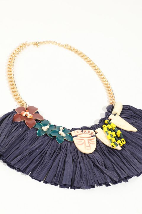 Women's Navy Blue Tasseled Stone Necklace